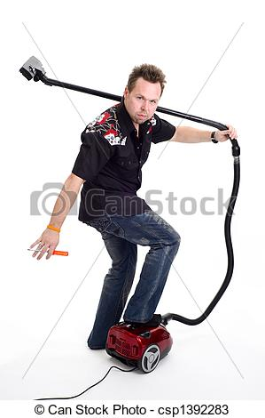 Stock Photos of Man with vacuum cleaner.