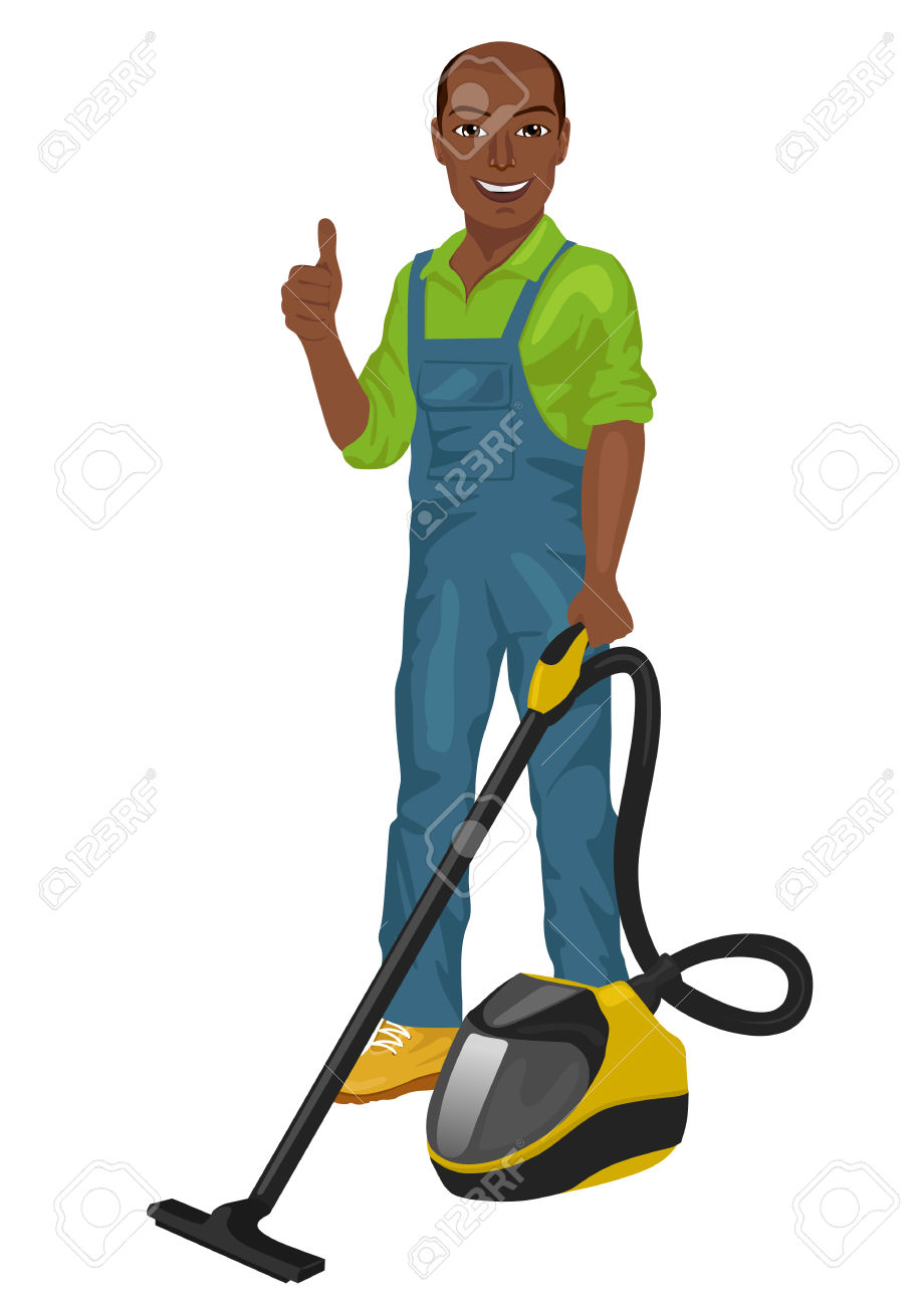 African American Man In Green Coveralls Posing With A Vacuum.