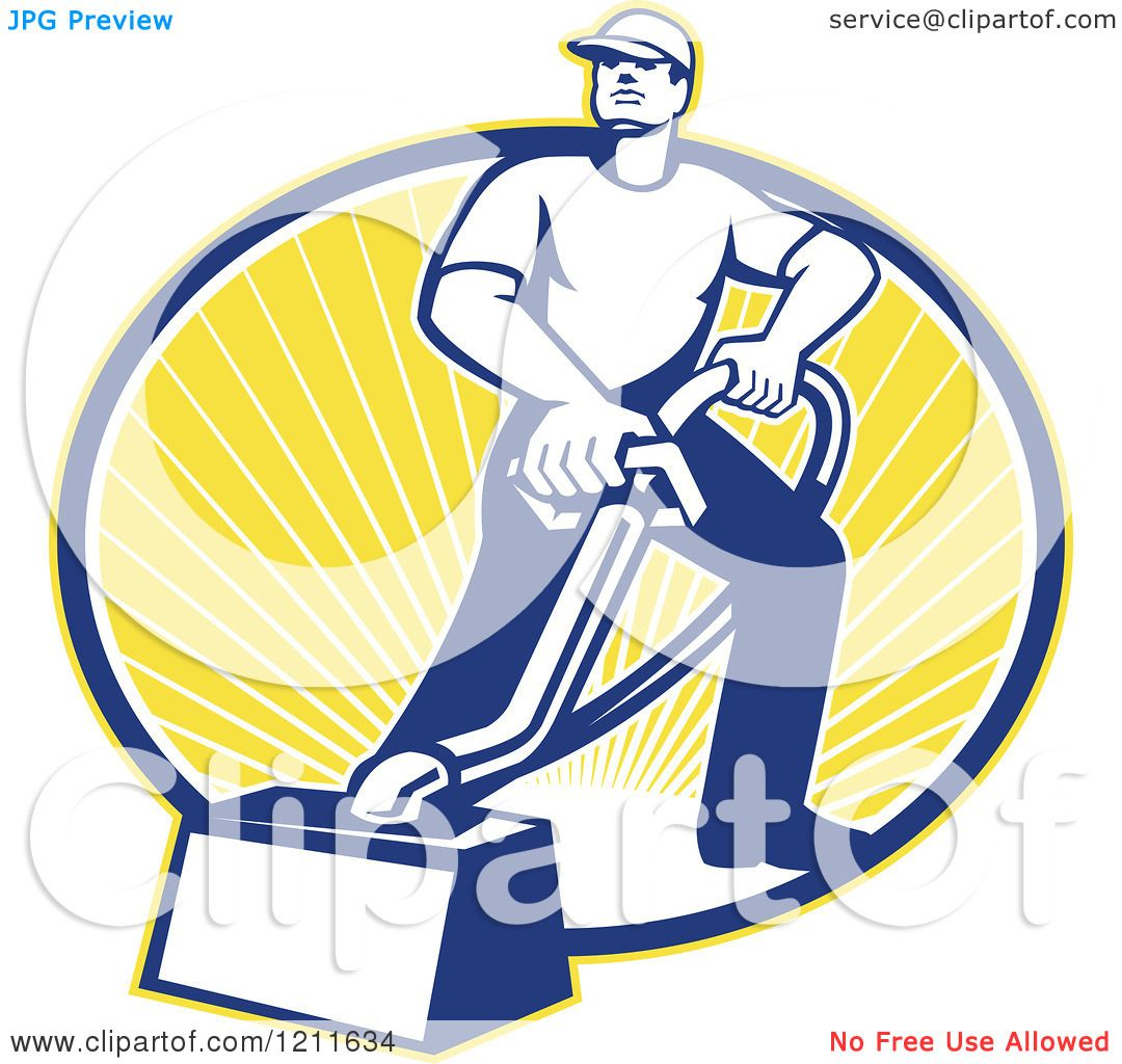 Clipart of a Retro Carpet Cleaner Man with a Vacuum over an Oval.