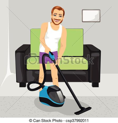Vector Clip Art of Young man in underwear cleaning carpet with.