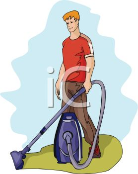 A Man With A Vacuum Cleaner.