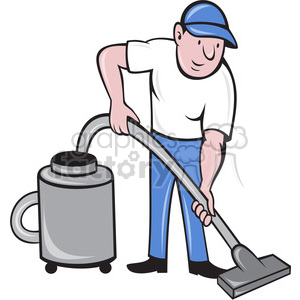 man with vacuum clipart. Royalty.