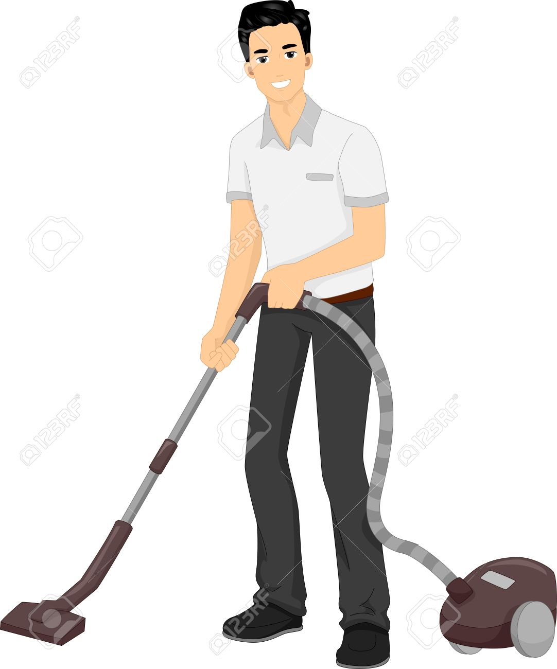 Illustration Featuring a Man Using a Vacuum Cleaner.
