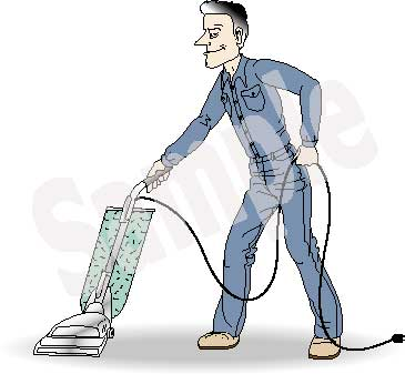 Man Vacuuming Clip Art.