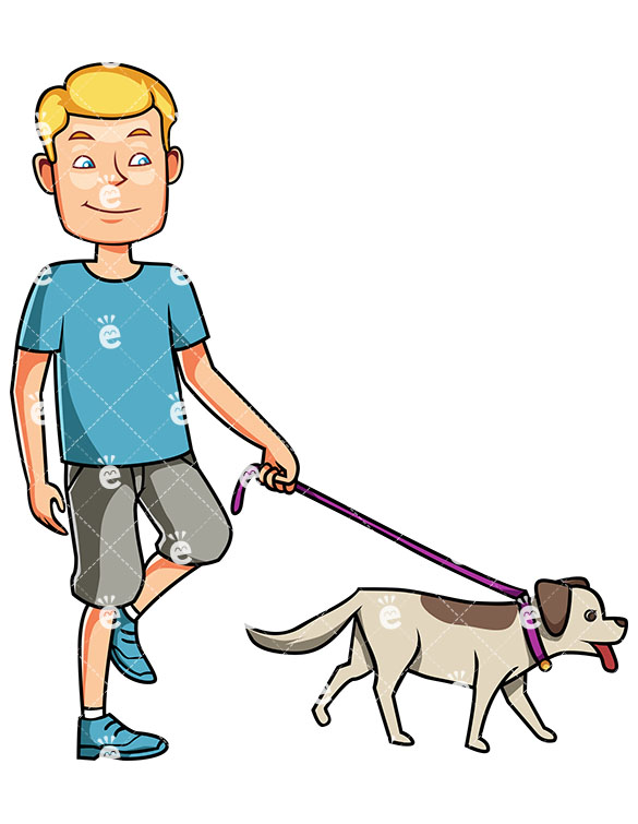 A Satisfied Man Walking His Dog On A Leash While Smiling.
