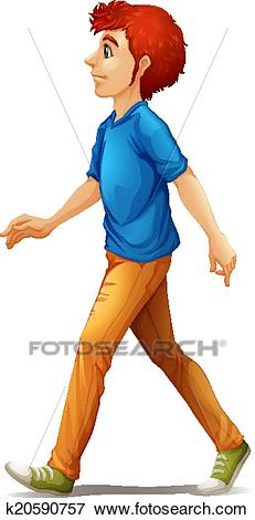 A tall man walking Clip Art.