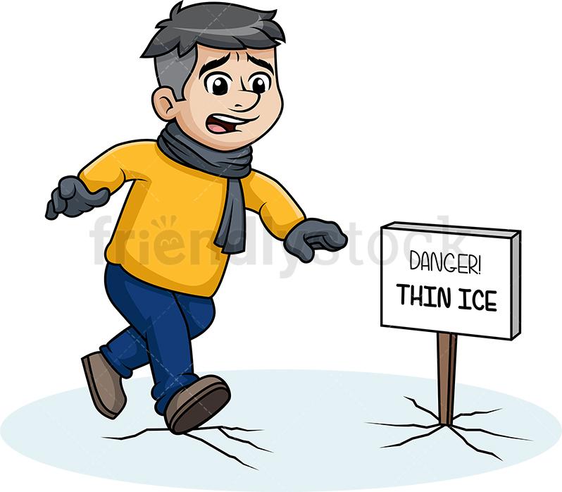 Man Walking On Thin Ice.