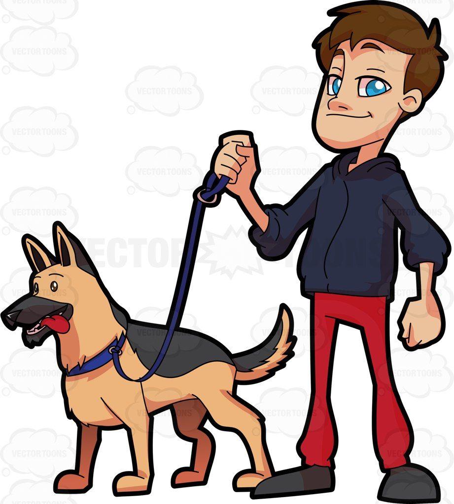 A man walking his German Shepherd #cartoon #clipart #vector.