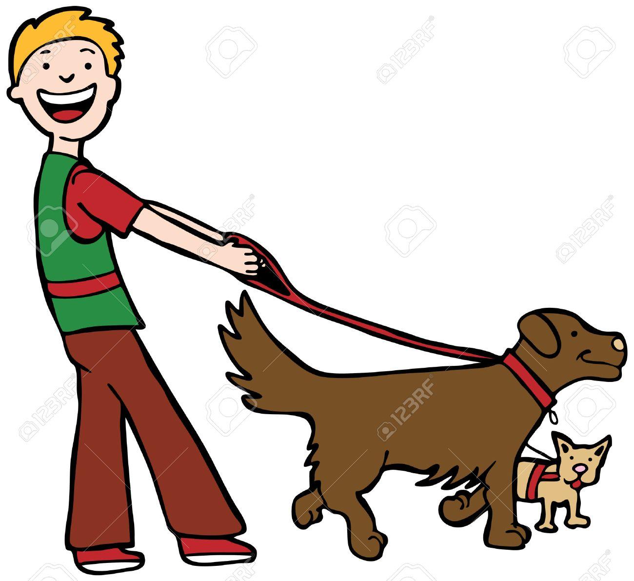 Dog Walker : Man walking two dogs..