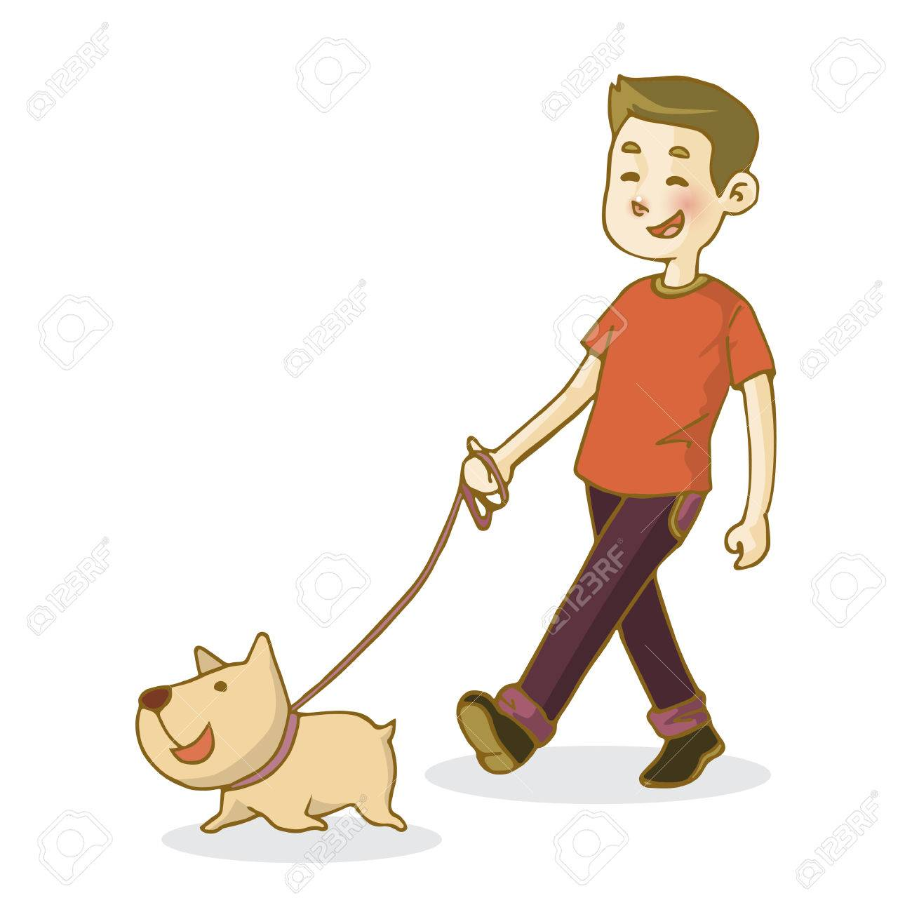 Young man walking dog, isolated on white background, vector illustration.