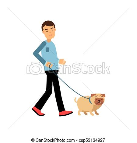 Young man walking with his dog colorful cartoon vector Illustration.