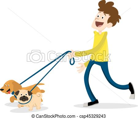 Man walking with a dog.