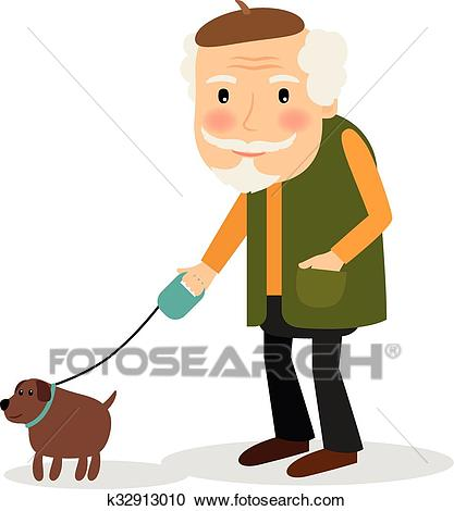 Old man walking with dog Clipart.