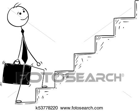 Conceptual Cartoon of Businessman Walking Up Stairs Clipart.