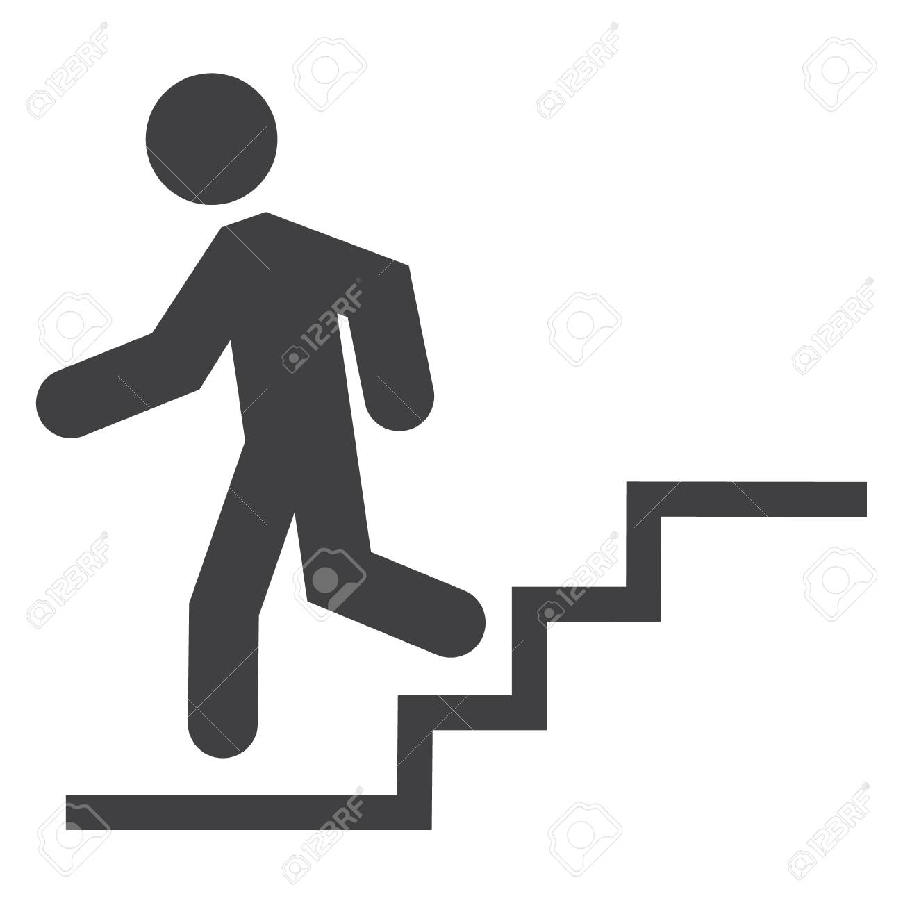 Silhouette Of A Man Walking Down Stairs On #501863.