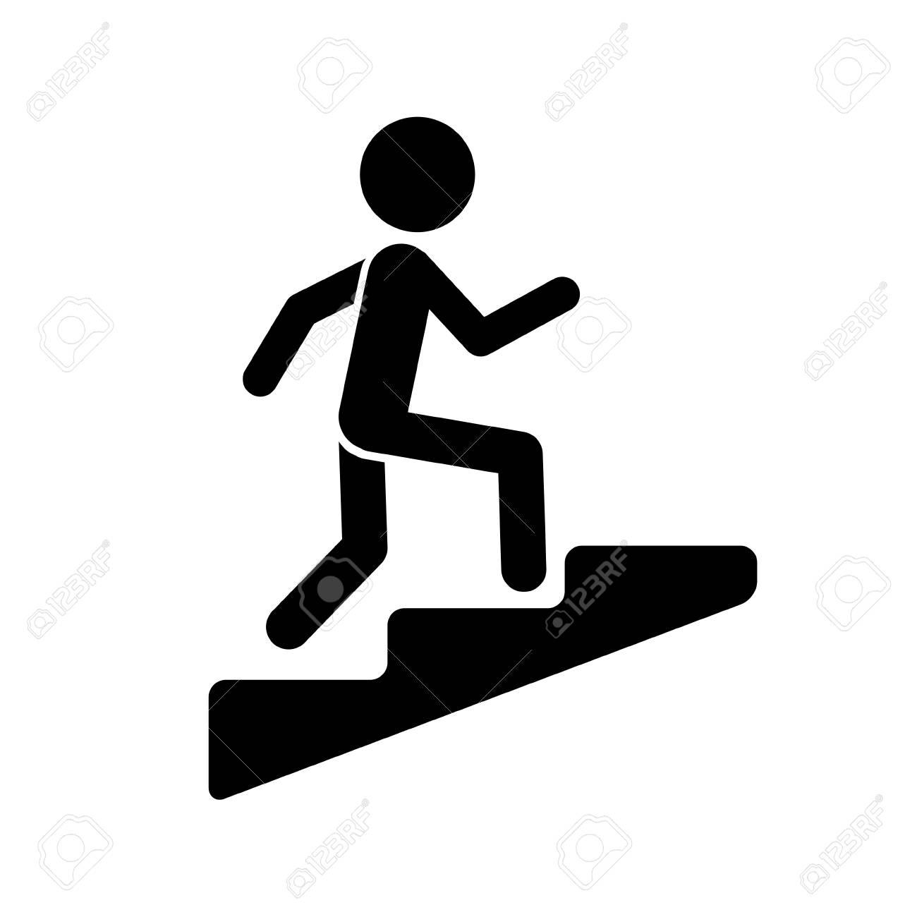 Upstairs. Man climbing the stairs. Career symbol.