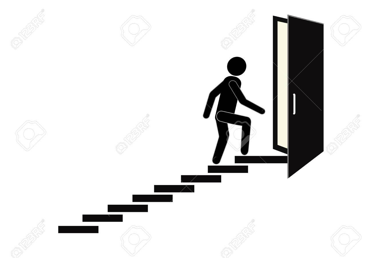 Man walking towards his goal up the stairs, passing through difficulties...