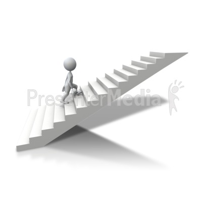 Stick Figure Climbing Up Stairs.