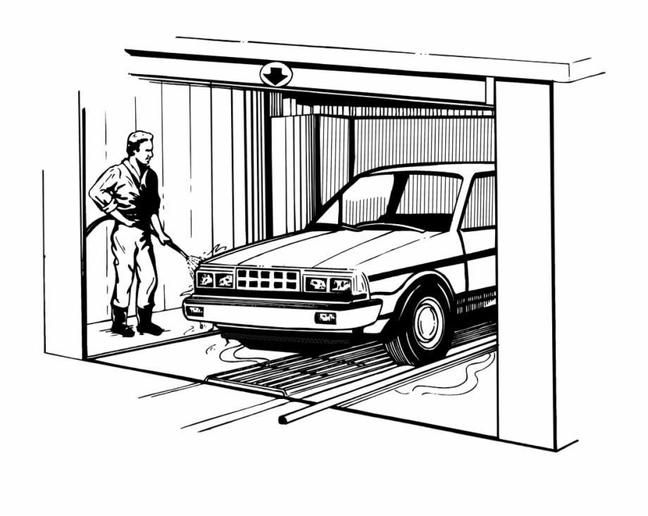 Guy Clipart Car Wash Man Washing Car Sketch.