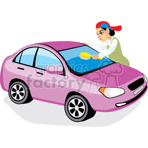 person washing a car clipart. Royalty.
