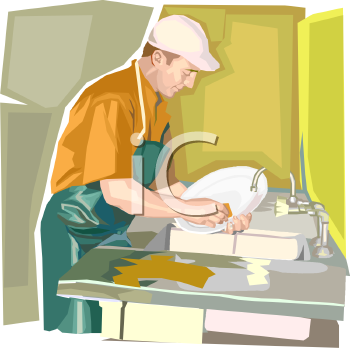Job Washing Dishes Restaurant Clipart.