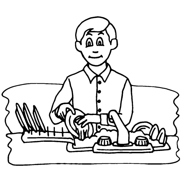 Washing Dishes Clipart Black And White.