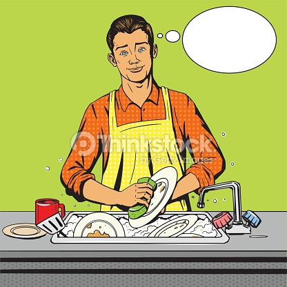 Showing post & media for Man washing dishes cartoon.