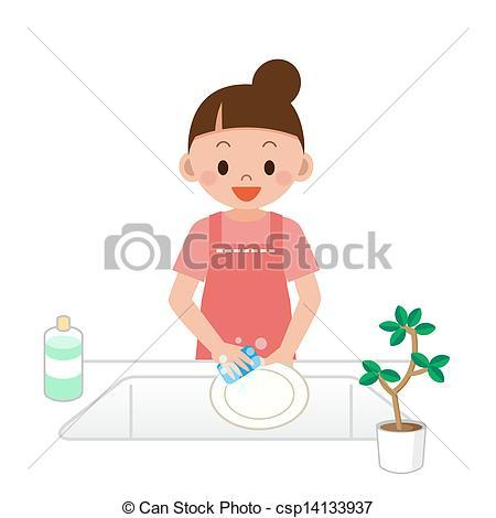 Mother Washing Dishes Clipart.