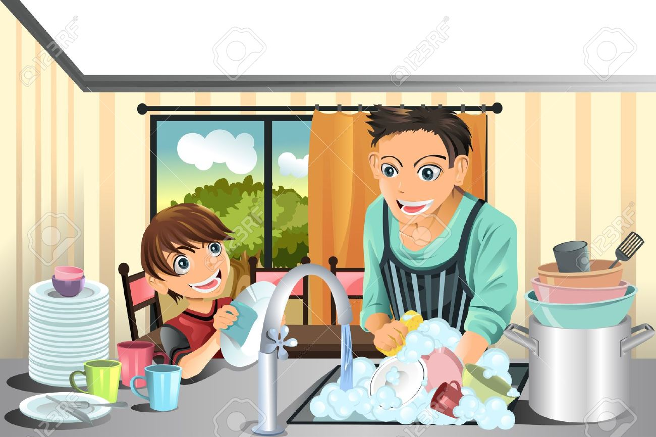 Showing post & media for Cartoon man washing dishes.