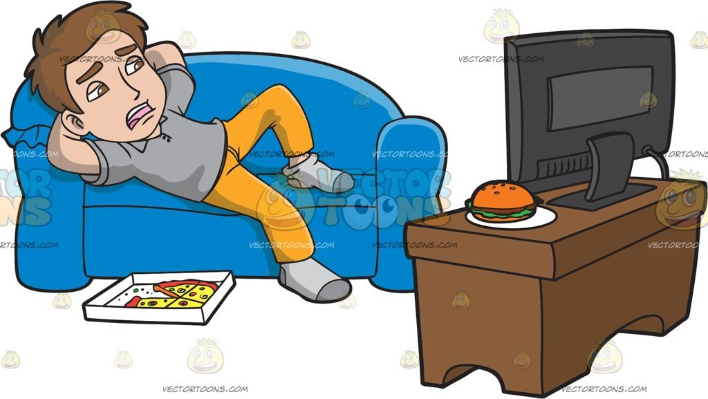 A Lazy Man Watching Tv After Eating Pizza: A man with brown.