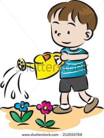 Boy Watering A Flower Clipart.