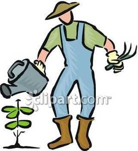 Man Watering Plants Clipart.