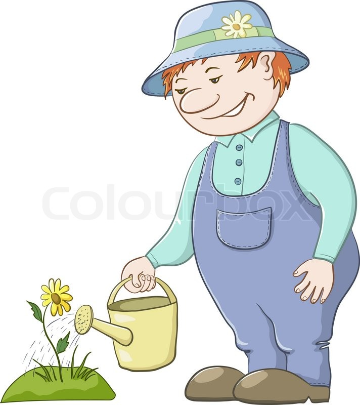 Showing post & media for Cartoon man watering garden.
