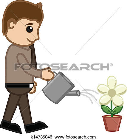 Clip Art of Man Watering Flower Plant Vector k15029667.