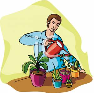 Showing post & media for Man watering flowers cartoon.