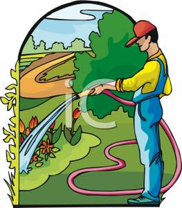 Clipart Man Watering Flower Plants.