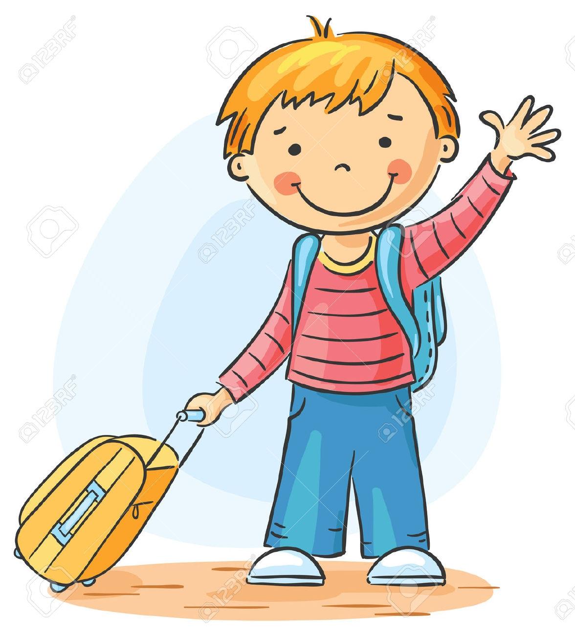 Children Waving Goodbye Clipart.