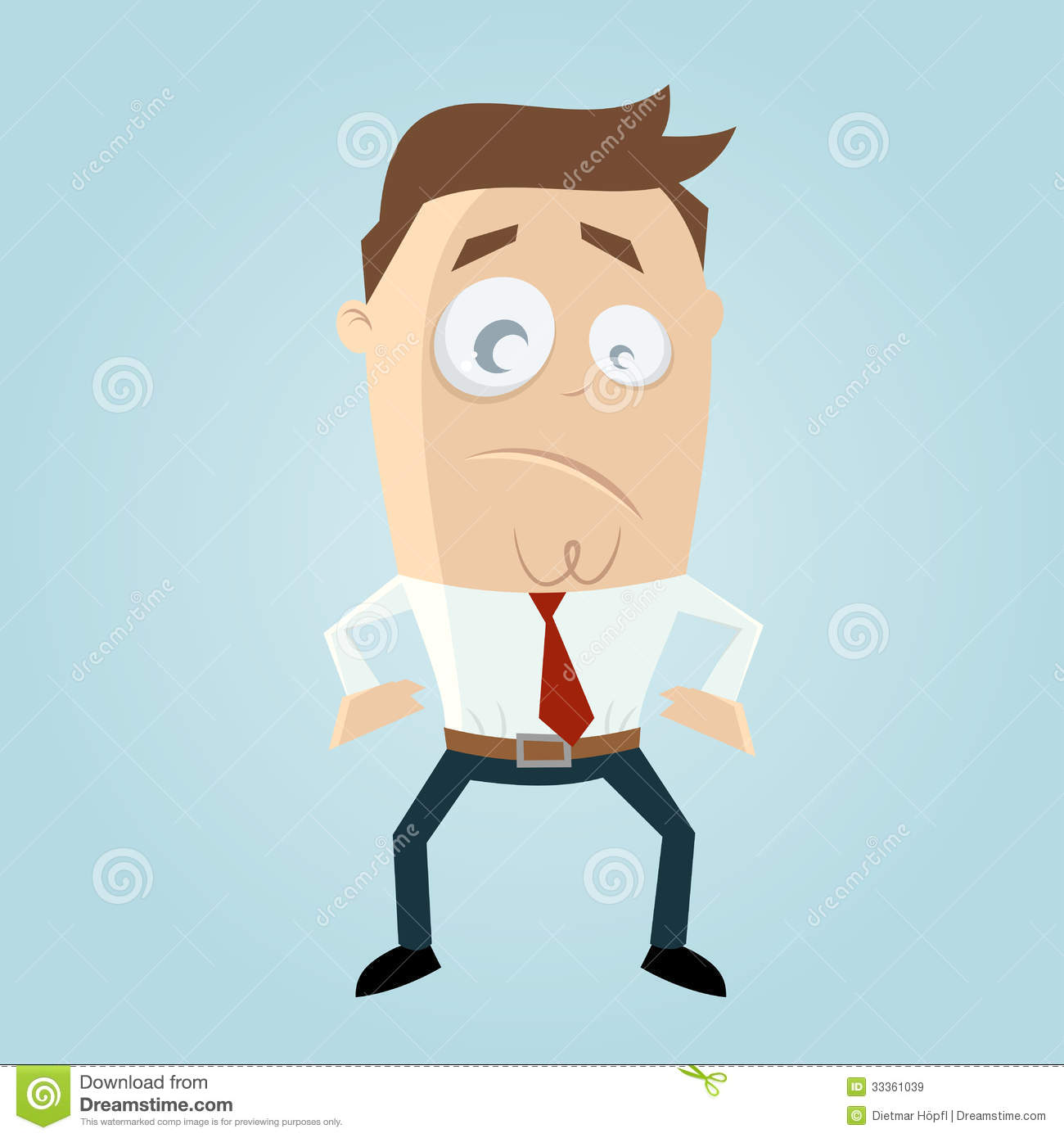 Cartoon Man With Tight Belt Royalty Free Stock Images.