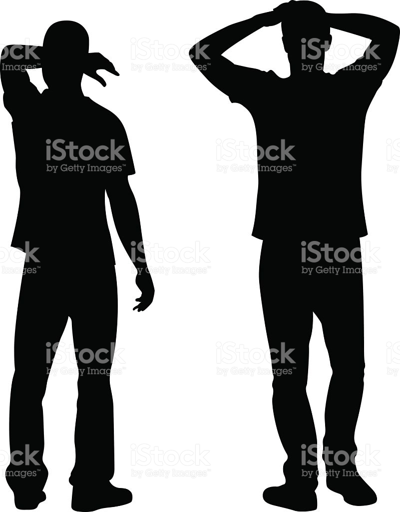 Men Standing With Arms Up Silhouette stock vector art 477058494.
