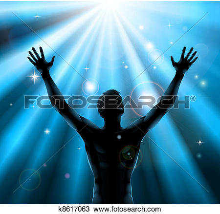 Clipart of Spiritual man with arms raised up concept k8617063.
