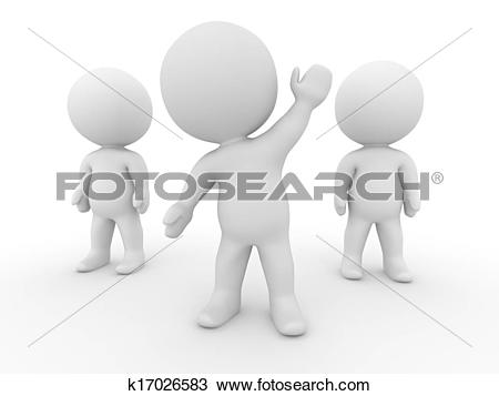 Drawing of 3D Man with arm raised volunteer k17026583.