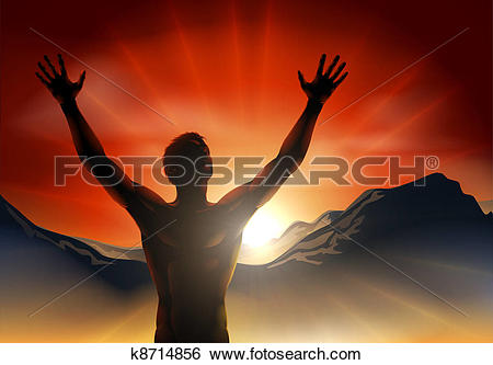 Clip Art of Man in silhouette arms raised on mo k8714856.