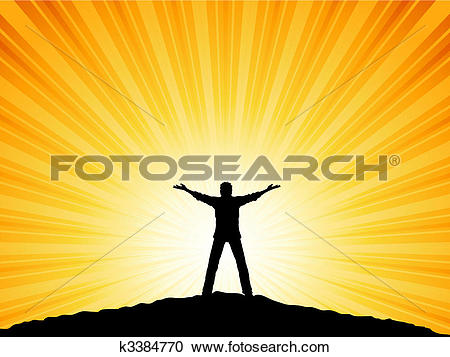 Clipart of man with arms raised k3384770.