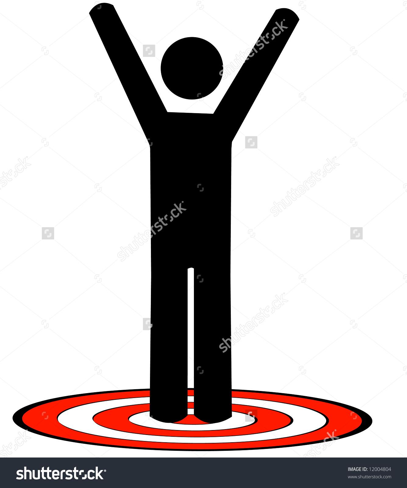 Stick Man Figure Standing On Red Stock Illustration 12004804.