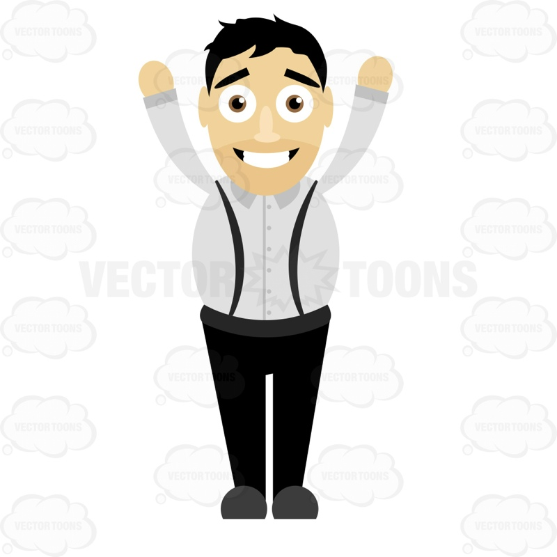 Smiling Man Standing With Both Arms Raised Up By His Head Cartoon.