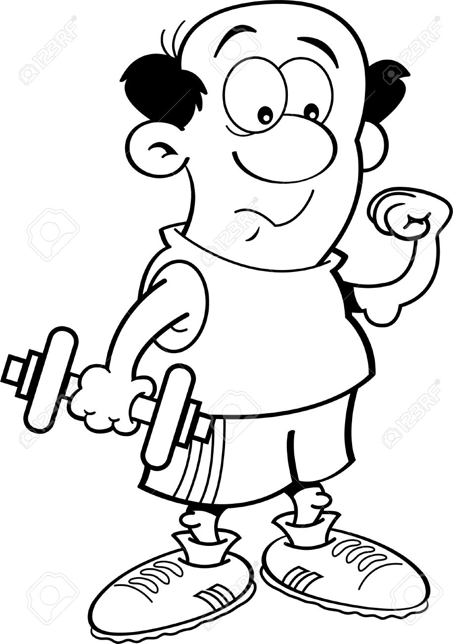 Black And White Illustration Of A Weak Man Holding A Dumbbell.