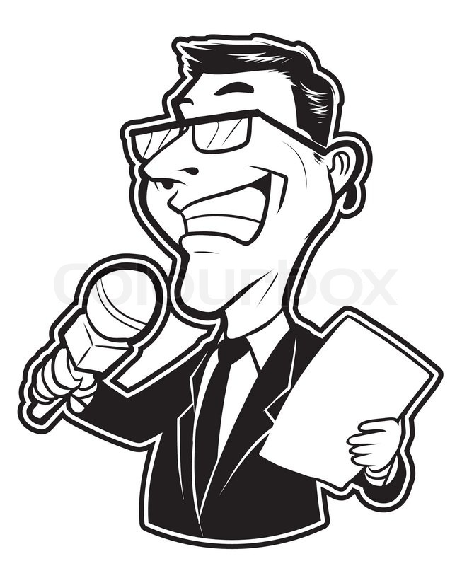 Black and white clipart reporter man.