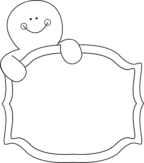 Black and White Gingerbread Man Sign Clip Art.
