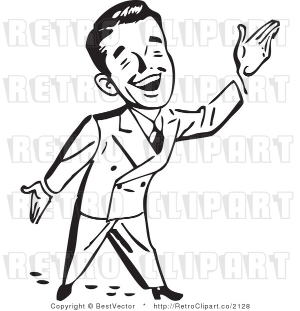 Royalty Free Black and White Retro Vector Clip Art of a Happy.