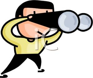Person With Binoculars Clipart.